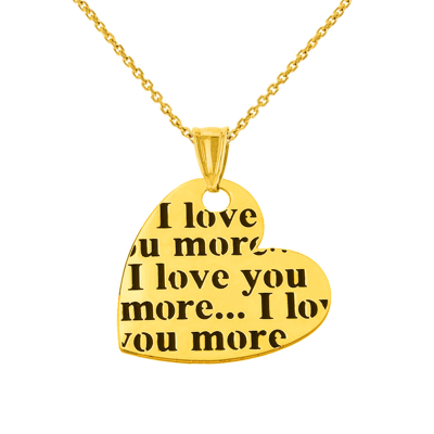 14K Yellow Gold Heart Charm with I love you more… Script Pendant Necklace