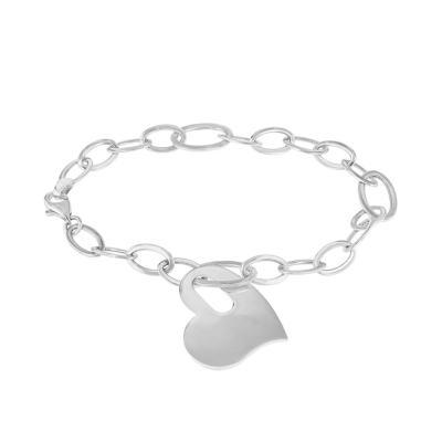Solid 14K White Gold Chain Link Love Bracelet with Engravable Heart Charm