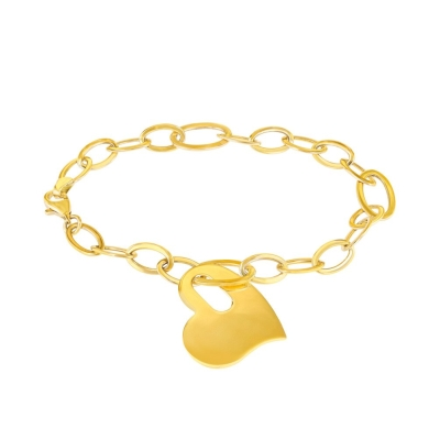 Solid 14K Yellow Gold Chain Link Love Bracelet with Engravable Heart Charm