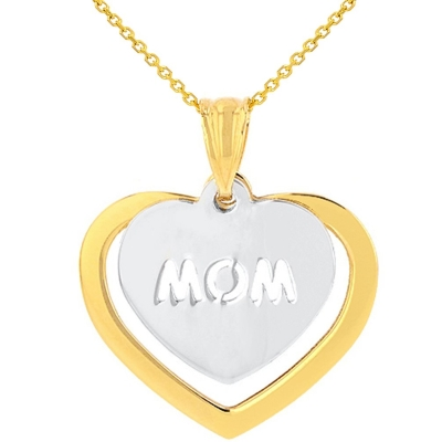 Solid 14K Two-Tone Gold Double Heart with Mom Pendant Necklace