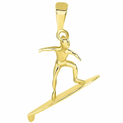 Solid 14k Yellow Gold Surfer Surfing on Surfboard Pendant
