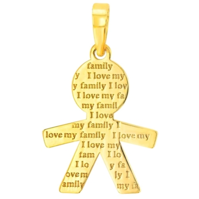 Solid 14K Yellow Gold Little Boy Charm with I Love My Family Engraved Script Pendant