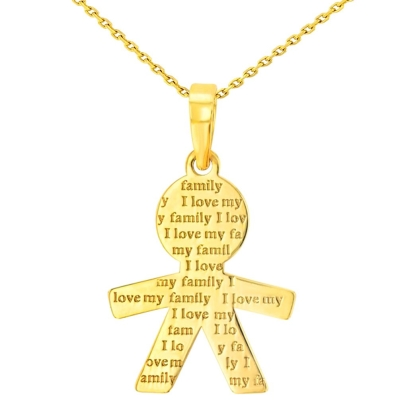 14K Yellow Gold Little Boy Charm with I Love My Family Engraved Script Pendant Necklace
