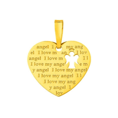 14K Yellow Gold Heart Charm with I Love My Angel Script Pendant