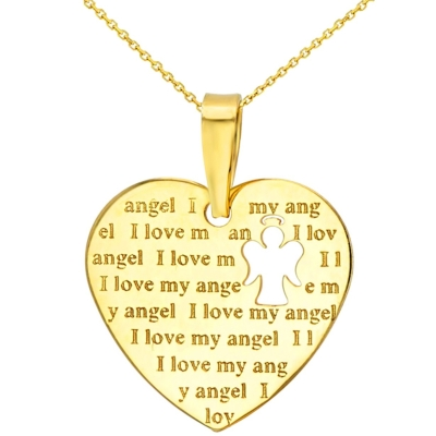 14K Yellow Gold Heart Charm with I Love My Angel Script Pendant Necklace