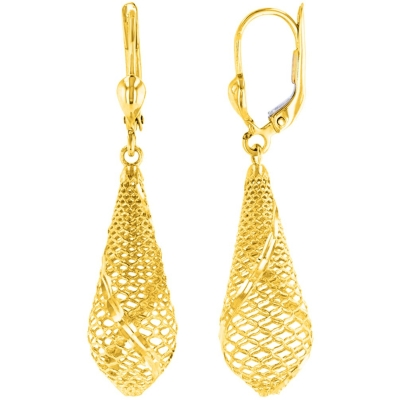 14k Yellow Gold Textured Teardrop Dangle Drop Earrings, 10mm