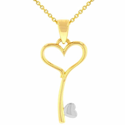 Solid 14K Yellow Gold Open Heart Love Curved Key Pendant Necklace