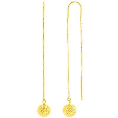 14K Yellow Gold Textured Ball Dangling Drop Threader Earrings, 8mm