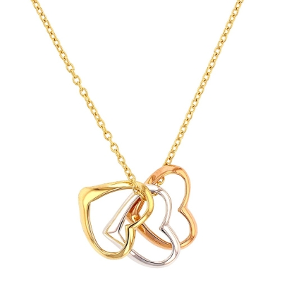 Jewelry America 14K Tri-Color Gold Three Open Hearts Sideways Necklace
