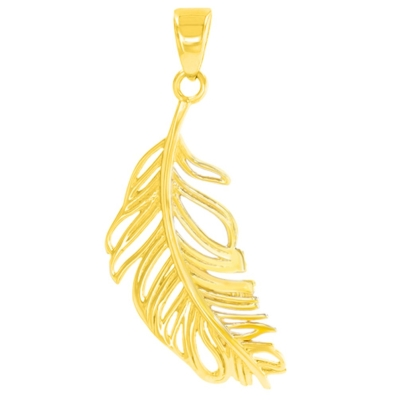 Solid 14K Yellow Gold Textured Feather Charm Pendant