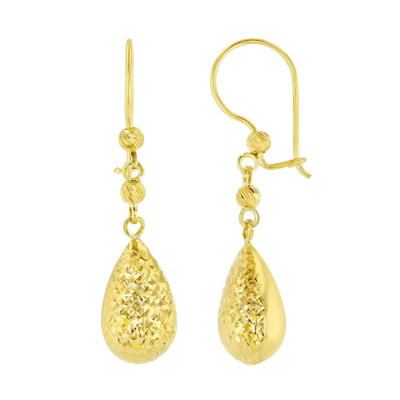 14k Yellow Gold Textured Teardrop Dangle Drop Earrings, 9.5mm