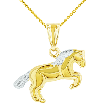Polished 14k Yellow Gold Running Horse Charm Animal Pendant Necklace