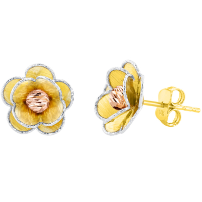 14K Tri Color Gold Textured Blooming Flower Stud Floral Earrings, 12.5mm