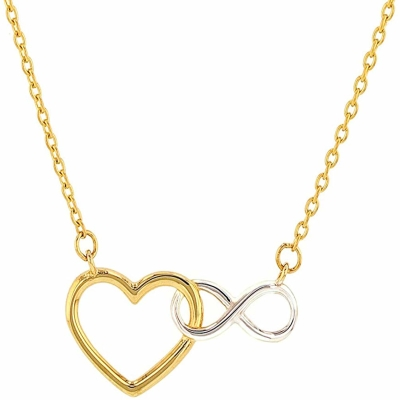 Jewelry America 14K Yellow Gold Polished Heart with Infinity Symbol Necklace