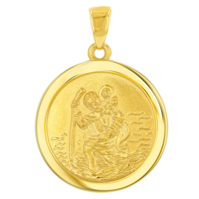 14k Yellow Gold Round Saint Christopher Medal Charm Pendant