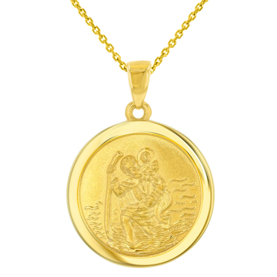 14k Yellow Gold Round Saint Christopher Medal Pendant Necklace