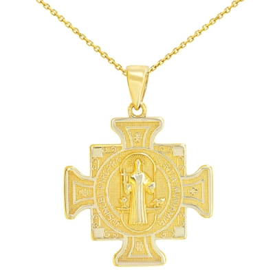 14K Yellow Gold Saint Benedict Cross Charm Pendant Neckalce
