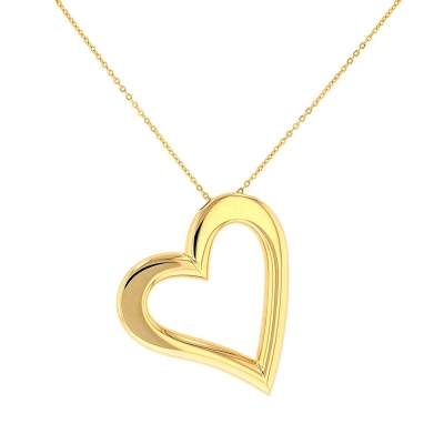 High Polish 14K Yellow Gold Simple Open Heart Necklace