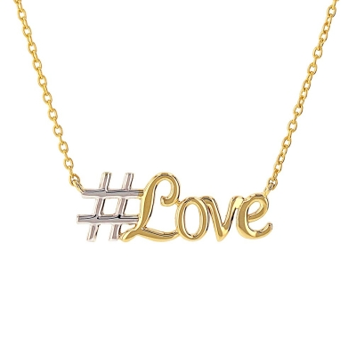 JewelryAmerica Solid 14K Yellow Gold Hashstag Love Scripted Necklace with High Polish Finish