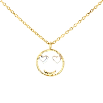 JewelryAmerica 14K Yellow Gold Smiley Face Smiling with Heart Eyes Necklace