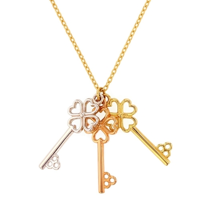 JewelryAmerica Solid 14K Tri-Color Gold Open Clover Heart Three Keys Necklace