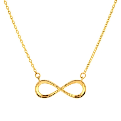 JewelryAmerica Solid 14K Yellow Gold Plain & Simple Infinity Love Necklace