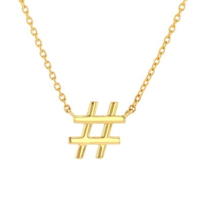 JewelryAmerica Solid 14K Yellow Gold Hashstag# Number Sign Necklace