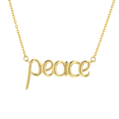 JewelryAmerica Solid 14K Yellow Gold Scripted Peace Necklace