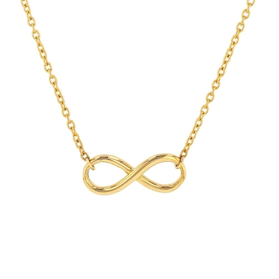 Jewelry America Solid 14K Yellow Gold Plain Infinity Love Necklace