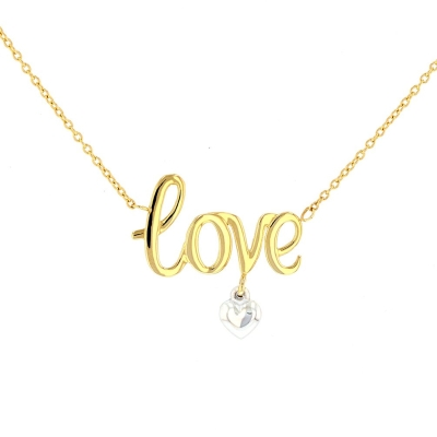 Solid 14K Two-Tone Gold Polished Love Scripted Necklace with Heart Charm