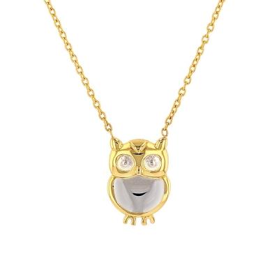 JewelryAmerica Solid 14K Yellow Gold Owl Charm Two Tone Bird Pendant Necklace