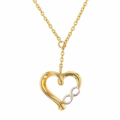 JewelryAmerica 14K Yellow Gold Simple Heart with Infinity Symbol Pendant Adjustable Choker Necklace