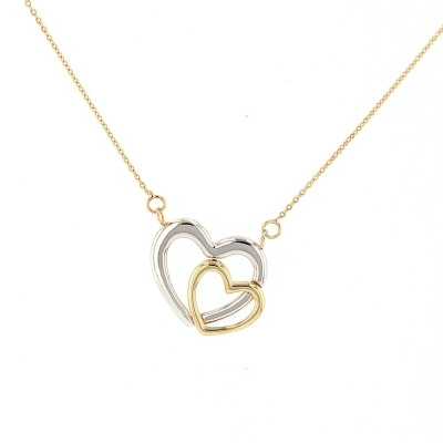 JewelryAmerica Solid 14K Two-Tone Gold Double Open Heart Necklace