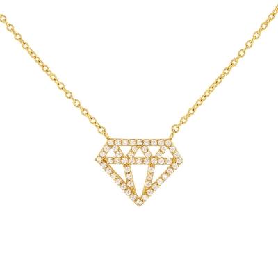 JewelryAmerica Solid 14k Yellow Gold Diamond Shaped Pendant Necklace with Cubic Zirconia
