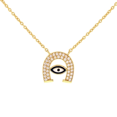 JewelryAmerica Solid 14k Gold CZ Lucky Horseshoe with Blue Evil Eye Necklace