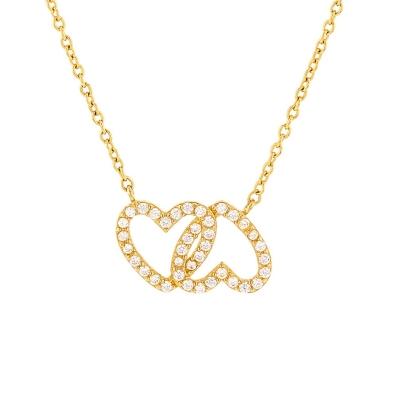 JewelryAmerica Solid 14K Yellow Gold Cubic Zirconia Open Double Heart Love Necklace