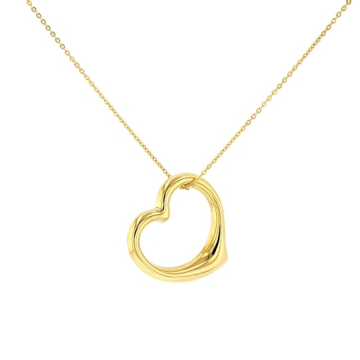 JewelryAmerica 14K Yellow Gold Polished Simple Open Heart Necklace
