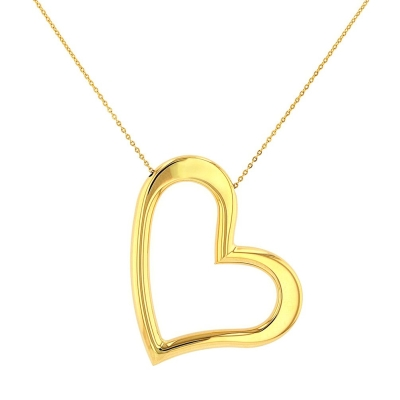 JewelryAmerica Polished 14K Yellow Gold Large Curved Heart Necklace