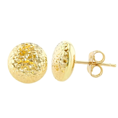 14K Yellow Gold Textured Circle Stud Round Shaped Earrings, 8.8mm