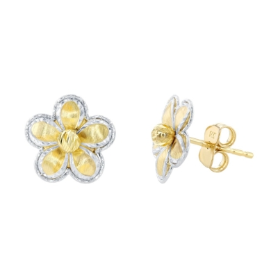14K Two Tone Gold Textured Blooming Flower Stud Floral Earrings, 11.5mm