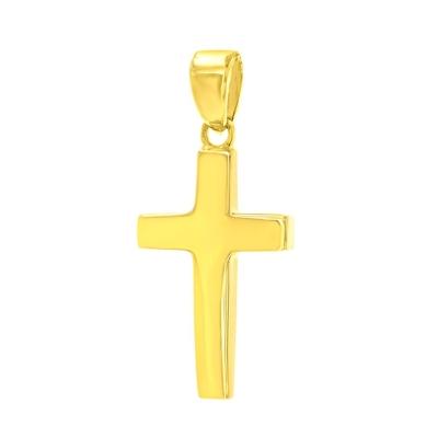 14K Yellow Gold Dainty Cross Charm Religious Pendant with High Polish