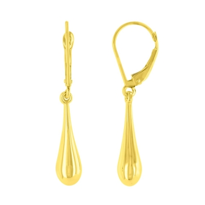 14k Yellow Gold Plain & Simple Teardrop Dangle Drop Earrings, 5.5mm