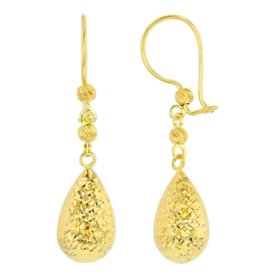Textured 14k Yellow Gold Pear Shaped Teardrop Dangle Drop Earrings, 9mm