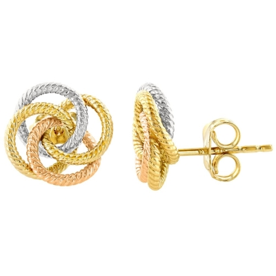 14K Tri-Color Gold Twisted Love Knot Stud Eternity Rope Earrings, 10mm