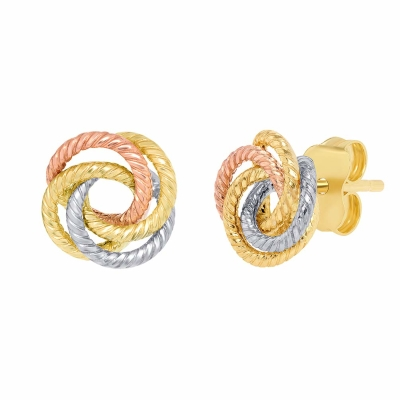 14K Tri-Color Gold Twisted Love Knot Stud Rope Earrings, 9mm