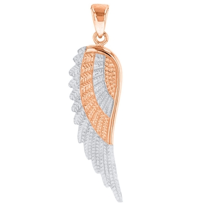 Solid 14k Rose Gold and White Gold Textured Angel Wing Charm Pendant