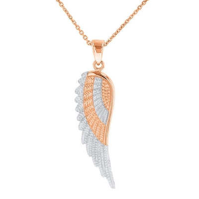 Solid 14k Rose Gold and White Gold Textured Angel Wing Charm Pendant Necklace