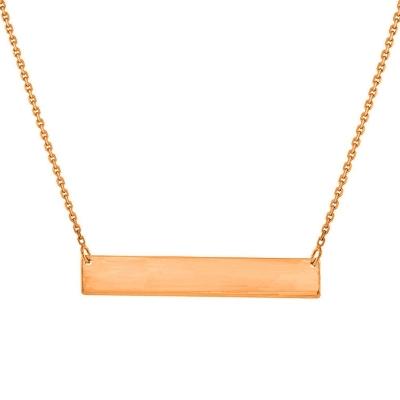 Solid 14k Rose Gold Engravable Bar Pendant Necklace