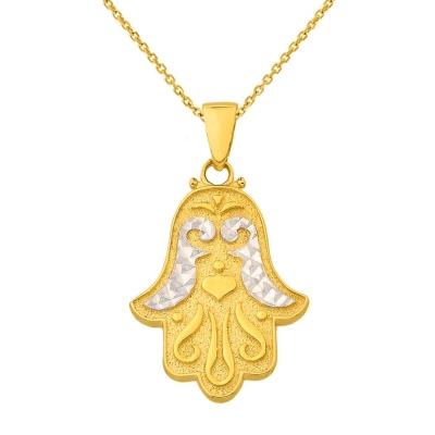 14K Yellow Gold Textured Hamsa Hand of Fatima Charm Pendant Necklace