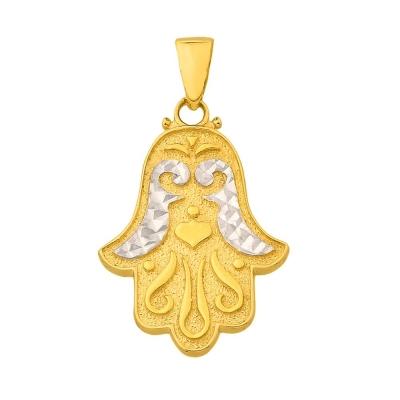 14K Yellow Gold Textured Hamsa Hand of Fatima Charm Pendant